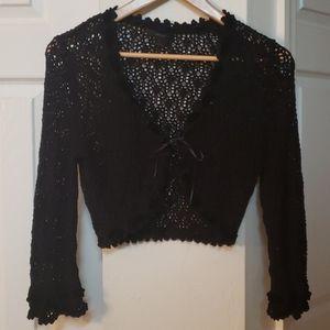 EXPRESS crochet bolero sweater mini bell sleeve